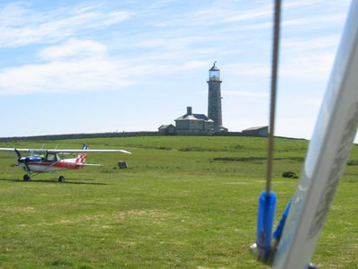 The Beacon Hill lighthouse at Lundy airstrip