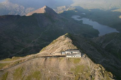 Flying over the summit of Snowdon