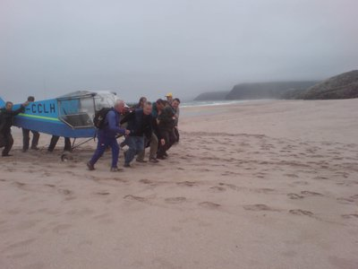 Retrieving a Rans from Sandwood Bay